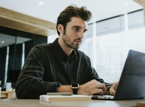 Man working on a computer